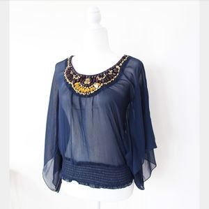 NWT CHARLOTTE RUSSE BEADED SHEER BLUE BLOUSE